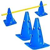 #DoYourFitness® Pylonen-Set/Trainingshürden (Lieferumfang : 3X Stangen (1,5m) & 2X Steckhütchen) - Koordinationshürde für Agility Training/Hürdenlauf rot/gelb blau/gelb Auriol