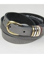 Ledergürtel mit 5 Metallschlaufen, 1,5cm Breite
