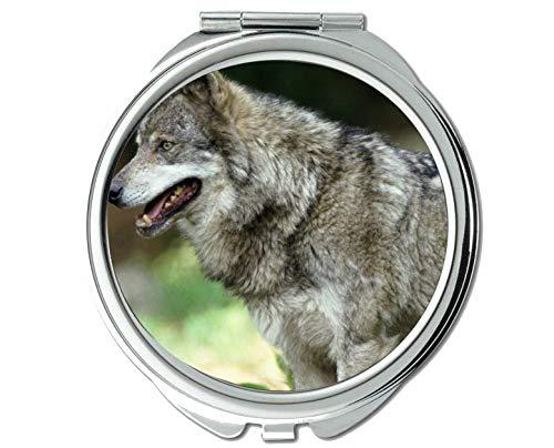 Yanteng Spiegel, Taschenspiegel, Animal Wolf University Taschenspiegel, 1 X 2X Vergrößerung