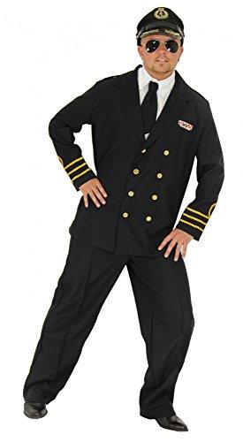 Foxxeo Marine Kostüm für Herren mit Kapitänsmütze und Uniform Marine Offizier Karneval Fasching Party Kapitän Soldat Navy Größe - Marine Offizier Uniform Kostüm