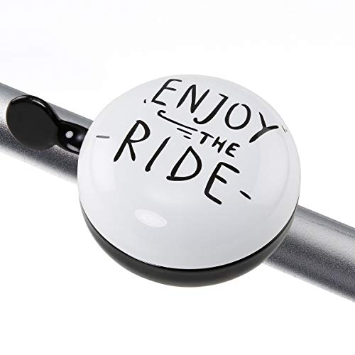 Butlers Ding Dong Fahrradklingel Enjoy The Ride Ø 8 cm mit Spruch - Schwarz-Weiße Klingel - Große Fahrradglocke aus Eisen