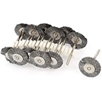 12pcs 25mm 1/8 pulgadas de cerdas de acero inoxidable rueda de cepillos para la herramienta Dremel