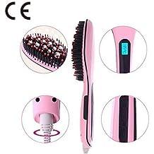 Hair Straightener Digital Anti Static Heating Detangling Hair Brush Rosa-Besmall