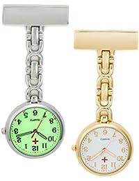 SEWOR Unisex Personal médico colgante reloj de bolsillo dorado y luminoso color plateado 2unidades con marca de piel caja de regalo