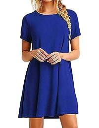 Damen Sommerkleider Blusenkleid Strand Tunika Kurz Komfortabel Kurzarm  Loose Normallacks T Shirt Kleid Freizeit Minikleid Shirtkleider 8734b19353