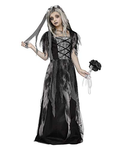 Horror-Shop Friedhofs Gothic Brautkleid Halloween Kinderkostüm mit Schleier ()