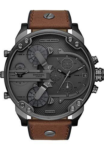 Diesel Herren-Armbanduhr Analog Quarz One Size, grau, braun