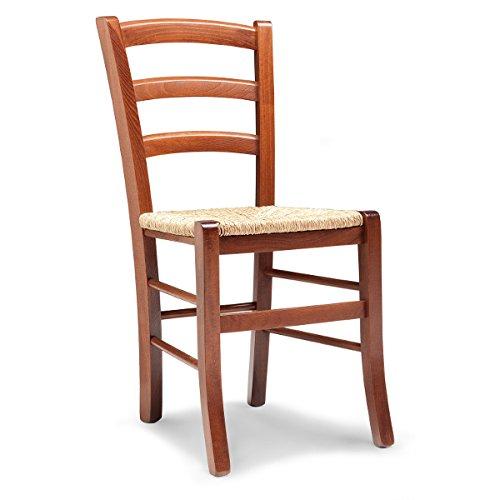 Mobili ilar set 2 sedie venezia ciliegio 156 - sedile paglia