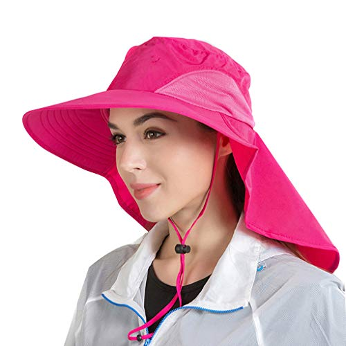 EUCoo Unisex-Sonnenhut Wasserdichter Big Cape-Fischen-Hut Zoo-Hut, Der Sonnenschirm-Hut Wandert(Hot Pink)