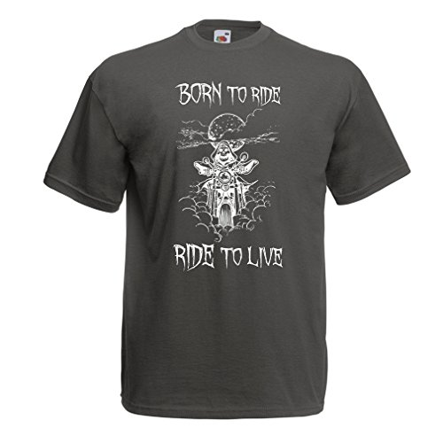 lepni.me N4690 Männer T-Shirt Born To Ride! motorcycle clothing (XX-Large Graphit Mehrfarben)