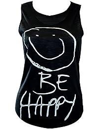 "MyMixTrendz - Femmes Be Happy ""Smiley Face Vest T-shirt Top"