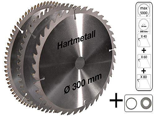 3 tlg Set Kreissägeblatt Hartmetall 300 x 30 mm 30 Z + 60 Z + 80 Z