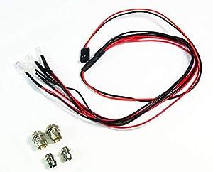 Absima 23200412320041 LED Set Color Blanco/Rojo con Soporte de Aluminio de diseño Modelo de Coche de gestaltung Tool/Tuning Notebook en Escala 1: 10, Multicolor