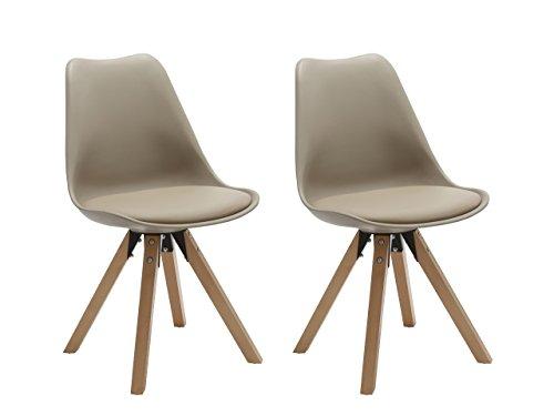 Duhome Elegant Lifestyle Stühle 2er Set in Cappuccino, Esszimmer Stuhl Küchenstuhl mit Holzbeine, stabil und schick (448)