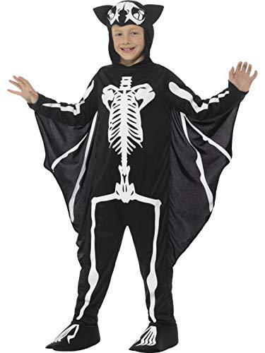 n Kinder Kostüm Overall Einteiler Onesie im Fledermaus Skelett Style mit Flügel Ärmeln, Skeleton Bat Bodysuit, perfekt für Halloween Karneval und Fasching, 140-152, Schwarz ()