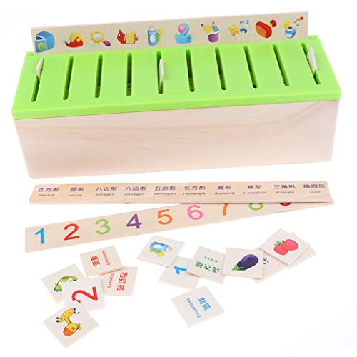 erbox mit 80 Holzklötze Lernkarten - Sortierkasten mit Deckel - Montessori Motorik Lernspielzeug für Baby Kinder Kleinkind ()
