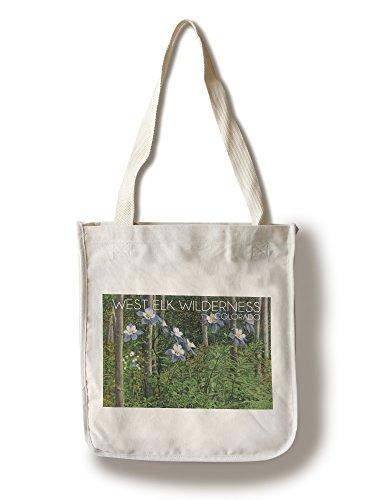 West Elk Wilderness, Colorado-View von Blooming columbines und Aspen Trees, baumwolle, mehrfarbig, Canvas Tote Bag -
