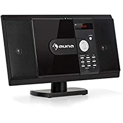 auna MCD-82 BT Equipo estéreo Vertical • Equipo Compacto • Minicadena • Reproductor de CD y DVD • Bluetooth • USB y SD • Radio FM • HDMI • Negro