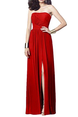 La_Marie Braut Chiffon Traegerlos Hochzeits Brautjungfernkleider Partykleider Abendkleider Lang A-linie Neuheit Rot