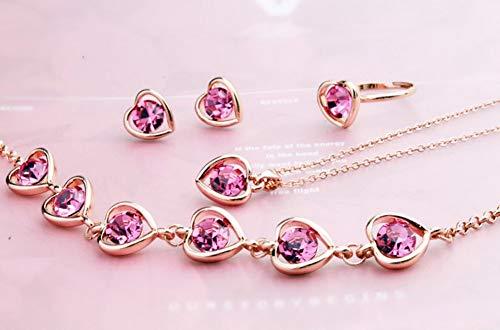 Dxyan nuovo bracciale in cristallo a forma di cuore orecchini bracciale a tre pezzi,pink