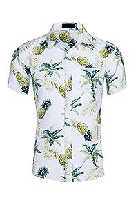 Yacun Hombres Camisas Hawaianas Floral