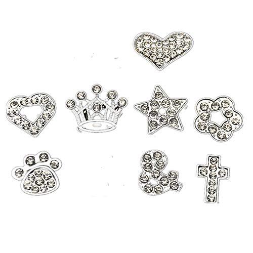 Fully 5stk. 10MM Straß DIY Charms für Hunde Katzen Halsband Collar Armband Totenkopf Hunde Blumen Infinite Pfoten Herz Stern Kreuz Crown Nummer -