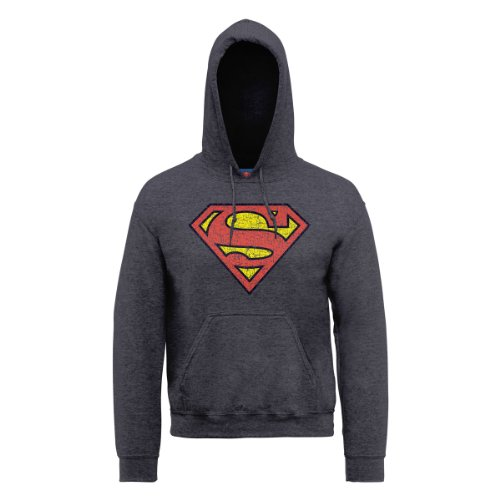 DC Comics Herren, Kapuzenpullover, DC0000156 Official Superman Shield Crackle grigio (Grey (Dark Heather))