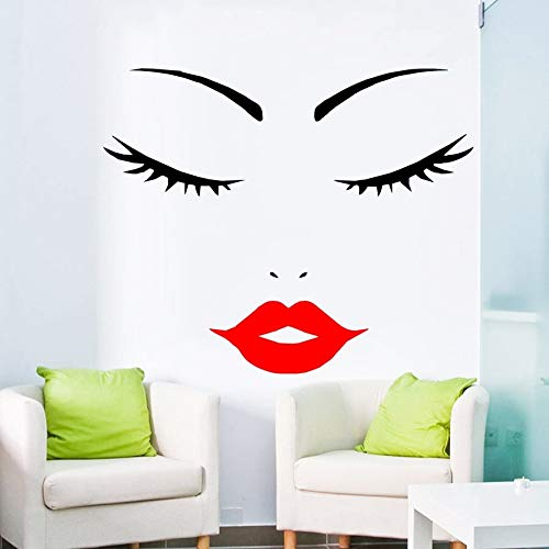 Atiehua Wandtattoos Frauengesicht - Frauengesicht - Wimpern - Rote Lippen Wandaufkleber - Wimpern Download - Wimpern Silhouette-Dunkelrote Lippen J930
