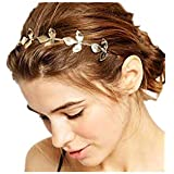 TBOP HAIR BAND imported metal leaves headband hairpin hair accessories in golden color for women