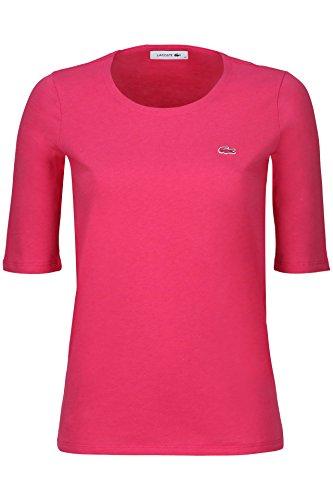 Lacoste TF5621 Klassisches Damen Basic T-Shirt, Rundhals, 3/4 Arm, Kurzarm, Regular Fit, für Freizeit und Sport, 100% Baumwolle Pink (Stacy Chine PH9), EU 40