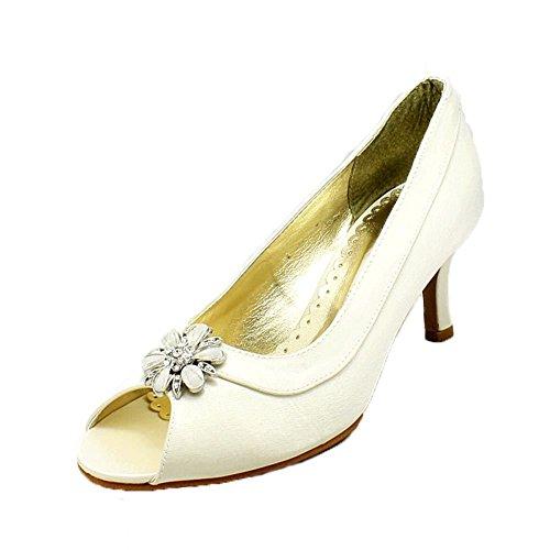 Mesdames satin orteil ovale ouvert chaussures de soirée à faible talon avec strass perle Broche Ivoire