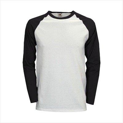 """Fruit of the Loom - Kontrast Langarm-Shirt """"Baseball Longsleeve T"""" L,White/Black"""