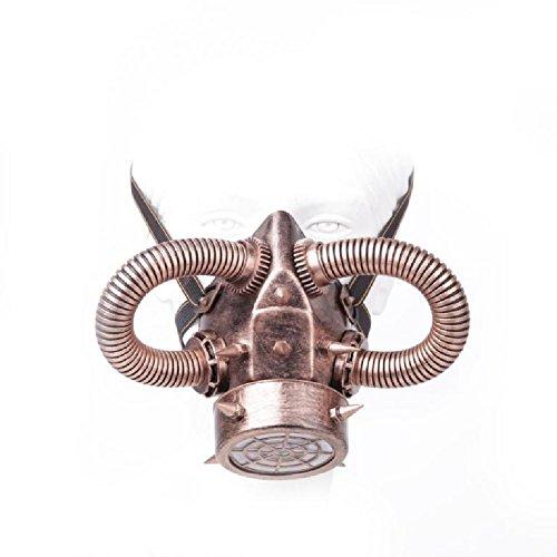 Atemschutzmaske mit eingesetzten Metallspikes für Cosplay - Gothic - Steampunk - EDM Fans (Einfache Halloween Kostüme Nerd)