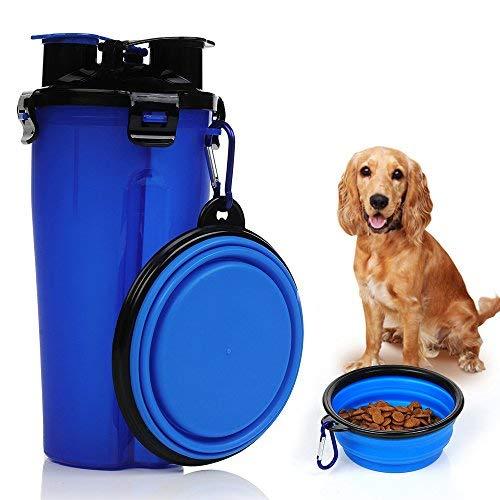 Trinkflasche Hund Wasserflasche Hunde mit Katzen Faltbar Reisenapf Hund 2 in 1 Ein Set für Haustiere Unterwegs Reise Outdoor Travel Trip Blau