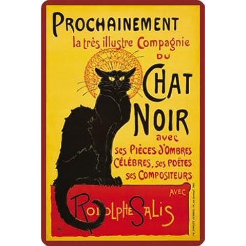 Le Chat Noir targa placca metallo curvo Nuovo 20x30cm VS4290