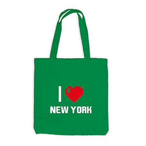 Jutebeutel - Io Amo New York - Usa Reisen Travel Heart Kellygrün
