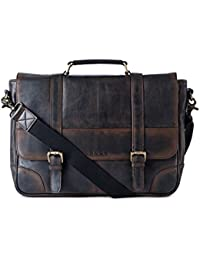 Gauge 15 Inch Washed Leather Laptop Messenger Bag Office Briefcase College Bag Satchel For Men (Black)