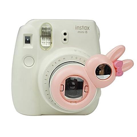 Alohallo Nahaufnahmen Linse mit Kaninchen Selbstbild Spiegel für Fujifilm Instax Mini 8/8 + und Mini 7S Instant Kamera - Pink