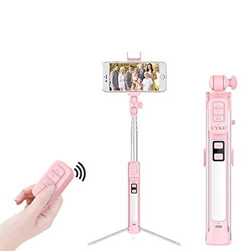 AWIS Bluetooth Selfie Stick e Treppiede con LED Fill Light,Telecomando Wireless Bluetooth,360 °Ruotabile, Allungabile Monopiede per iOS Android Smart Phone,Pink,160cm