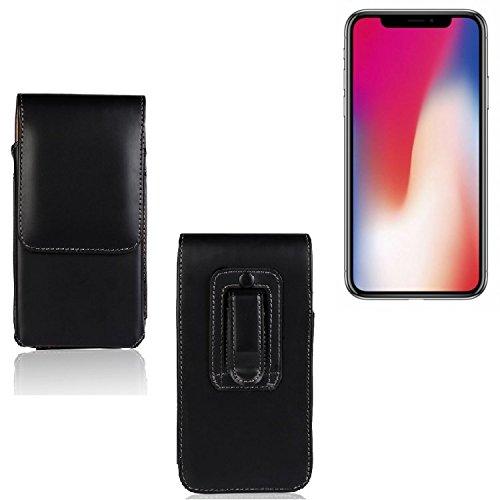 Holster für Apple iPhone X, Gürteltasche, schwarz. Handytasche Schutz Hülle Case Seitentasche Vertikaltasche Schutzhülle (Wir zahlen Steuern in Deutschland!)