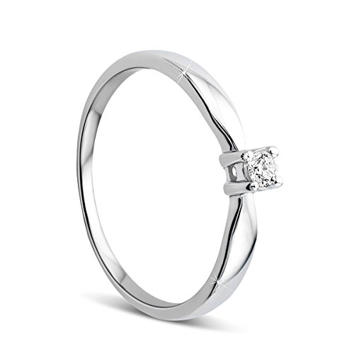 Orovi Damen Verlobungsring Gold Solitärring Diamantring 9 Karat (375) Brillanten 0.05crt Weißgold Ring mit Diamanten Ring Handgemacht in Italien