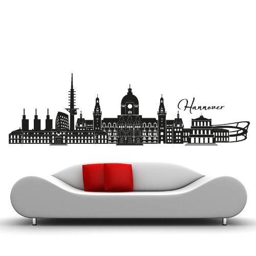Skyline Hannover - 130 x 40cm - Farbe: Schwarz