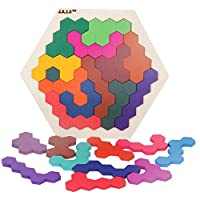 Whiie891203 Puzzle IQ Game Educational Toys,Wooden Colorful Hexagon Tangrams Puzzles Table LearningToy for Kids Birthday Choice