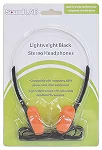 SoundLab Lightweight School Office Stereo Headphones - Orange