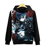 Cosstars Black Butler Anime Kapuzenpullover Sweatshirt Cosplay Kostüm Hoodie Mantel Pulli Sweater Schwarz 9 S