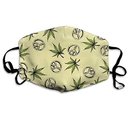 (SDGSS Mouth Mask,Cannabis Peace Hippie Warm Unisex Fashion Warm Anti-Dust Washable Reusable Mouth Mask)