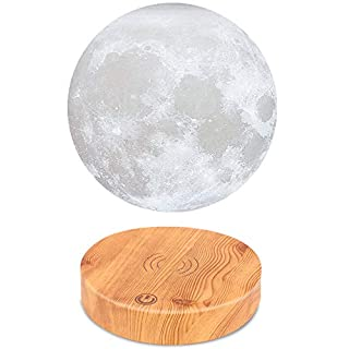 VGAzer Levitating Moon Lamp,Floating and Spinning in Air Freely with Wood Base and 3D Printing LED Moon Light,for Unique Holiday Gifts,Room Decor,Night Light,Office Desk Tech Toys(White)
