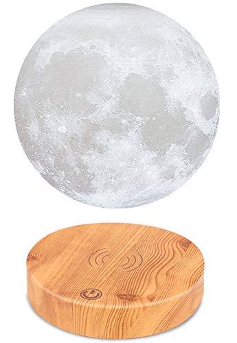 VGAzer Schwebende Mond Lampe,In der Luft frei schweben und spinnen mit hölzerner Basis und Mondlicht des Druck-3D,für einzigartige Geschenke, Room Decor, Nachtlicht, Schreibtisch Tech-Spielzeug (weiß)