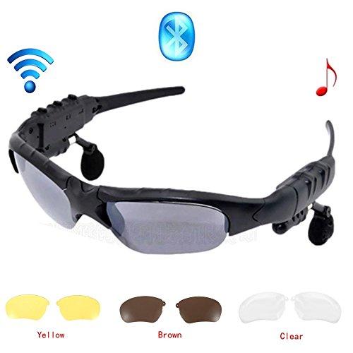 Jinserta Wireless Bluetooth Sonnenbrille Stereo Kopfhörer Digital Brillen mit Musik MP3-Player Musik Kopfhörer mit Kamera-Funktion für iPhone 7 Android Smartphones und alle Geräte mit Bluetooth