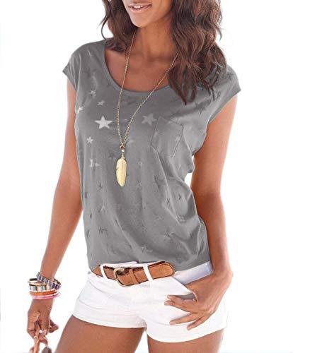 TrendiMax Damen T-Shirt Tops Ärmellos Basic Sommer Shirts Allover-Sternen Druck Sexy Oberteil (Braun, XL)